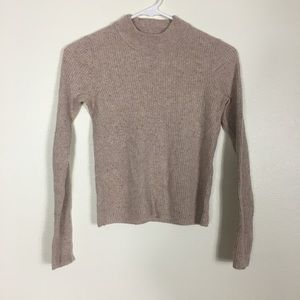 Madewell Tan Ribbed Wool Mock Neck Cropped Sweater